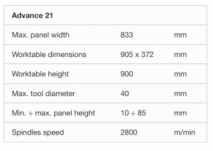 Tekniske detaljer AD21 boremaskine