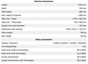 Tekniske detaljer MSP415EURO 9